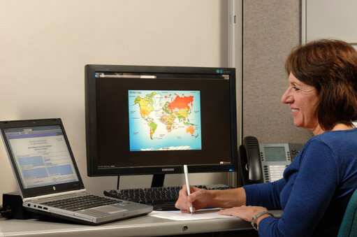 Customer service representative dealing with international service