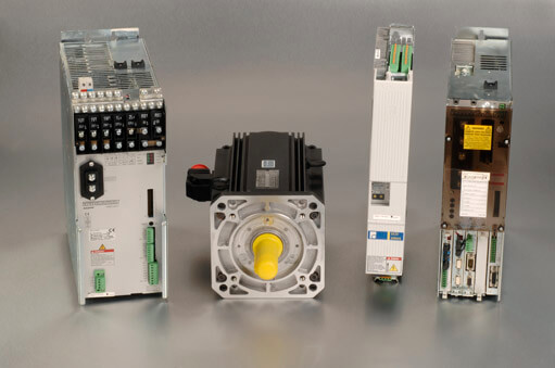 Bosch Rexroth servo system units with TVD, MDD, DKC, DDS units with silver background